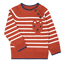 Buy John Lewis Baby Rusty Stripe Jumper, Red Online at johnlewis.com