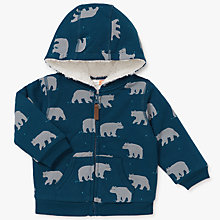 Buy John Lewis Baby Bear Print Hoodie, Green Online at johnlewis.com