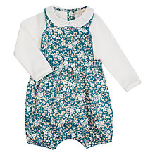 Buy John Lewis Baby Heirloom Collection Ditsy Bibshort and T-Shirt Set, Blue Online at johnlewis.com