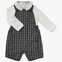 Buy John Lewis Heirloom Collection Baby Gingham Dungaree Set, Navy Online at johnlewis.com
