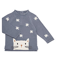 Buy John Lewis Baby Cat Intarsia GOTS Organic Cotton Jumper, Grey Online at johnlewis.com