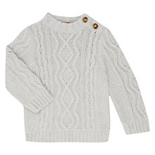 Buy John Lewis Baby Aran GOTS Organic Cotton Jumper, Cream Online at johnlewis.com