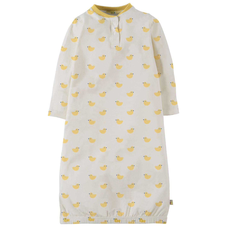 Frugi Organic Baby Sleepy Nightgown, White/Yellow at John Lewis