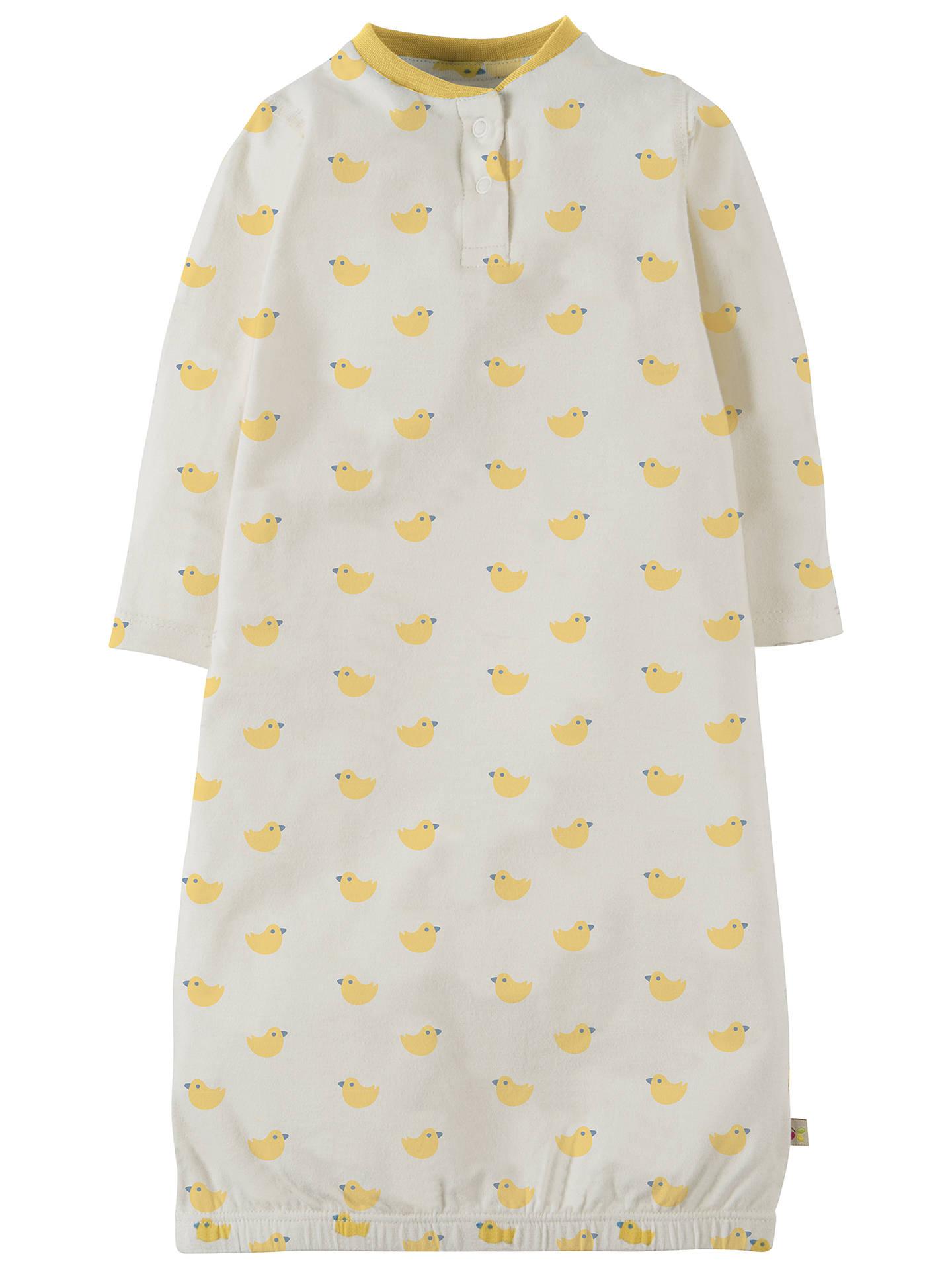 Frugi Organic Baby Sleepy Nightgown, White/Yellow at John Lewis ...