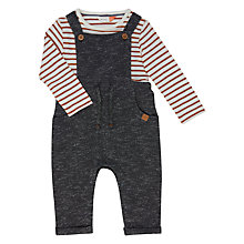 Buy John Lewis Baby Stripe Dungaree and T-Shirt Set, Grey Online at johnlewis.com