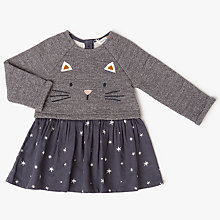 Buy John Lewis Baby Cat Face Half & Half Dress, Grey Online at johnlewis.com