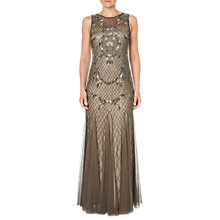 Buy Adrianna Papell Beaded Long Dress, Lead Online at johnlewis.com