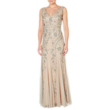 Buy Adrianna Papell Sleeveless V-Neck Beaded Gown, Silver/Nude Online at johnlewis.com