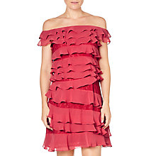 Buy Adrianna Papell Cynthia Lace Tiered Bardot Dress, Amaranth Pink Online at johnlewis.com