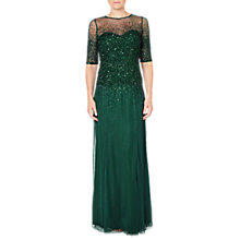 Buy Adrianna Papell Beaded Illusion Short Sleeve Dress, Dusty Emerald Online at johnlewis.com
