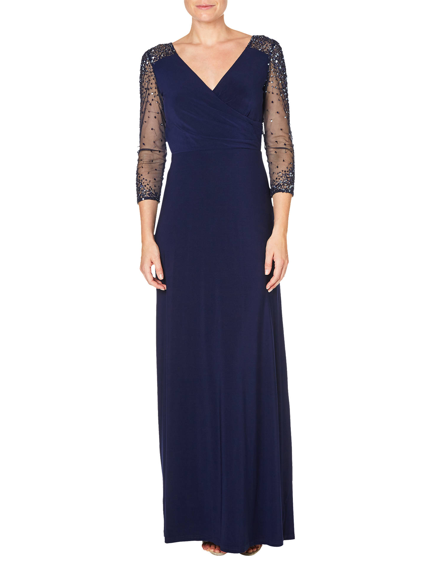 Adrianna Papell Jersey Beaded Gown, Midnight at John Lewis & Partners