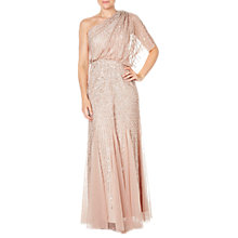 Buy Adrianna Papell One Shoulder Beaded Blouson Gown, Blush Online at johnlewis.com