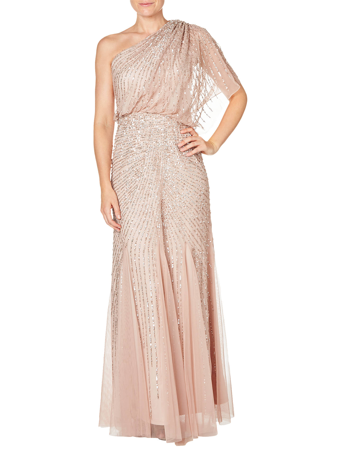 Adrianna Papell One Shoulder Beaded Blouson Gown, Blush at John ...