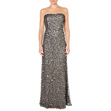 Buy Adrianna Papell Strapless Crunchy Bead Gown, Lead Online at johnlewis.com