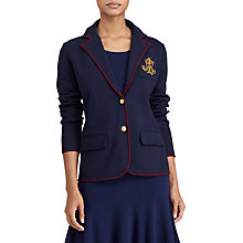 Buy Lauren Ralph Lauren Bullion Crest Sweater Blazer, Navy/Red Sangria Online at johnlewis.com