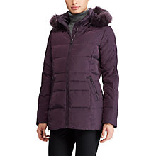 Buy Lauren Ralph Lauren Quilted Hooded Jacket, Aubergine Online at johnlewis.com