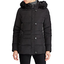 Buy Lauren Ralph Lauren Faux Fur Trim Hooded Jacket, Black Online at johnlewis.com