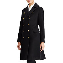 Buy Lauren Ralph Lauren Wool Blend Military Coat, Black Online at johnlewis.com