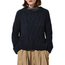 Buy Toast Chunky Cable Knitted Jumper, Navy Online at johnlewis.com