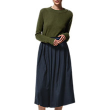 Buy Toast Wool Blend Pinstripe Skirt, Dark Navy Online at johnlewis.com
