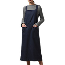 Buy Toast Pinstripe Wool Apron Dress, Dark Navy Online at johnlewis.com