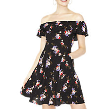 Buy Miss Selfridge Floral Bardot Skater Dress, Black Online at johnlewis.com