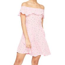 Buy Miss Selfridge Vintage Floral Bardot Skater Dress, Pink Online at johnlewis.com