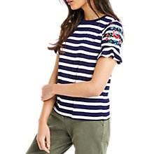 Buy Oasis Flute Sleeve T-Shirt, Multi/Blue Online at johnlewis.com