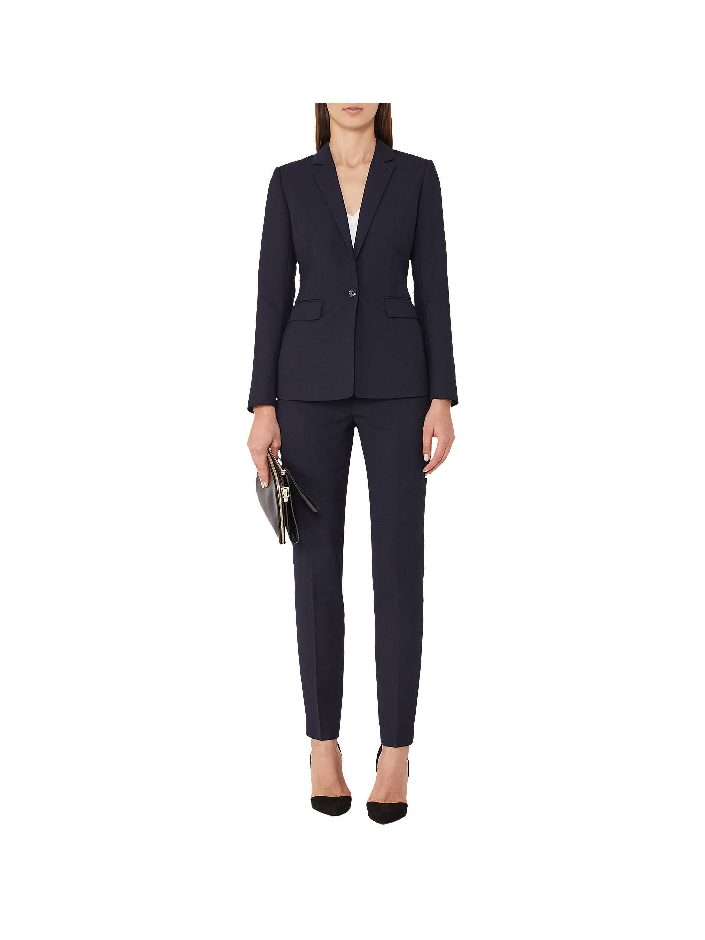 Buy Reiss Faulkner Slim-Leg Trousers, Navy, 6 Online at johnlewis.com