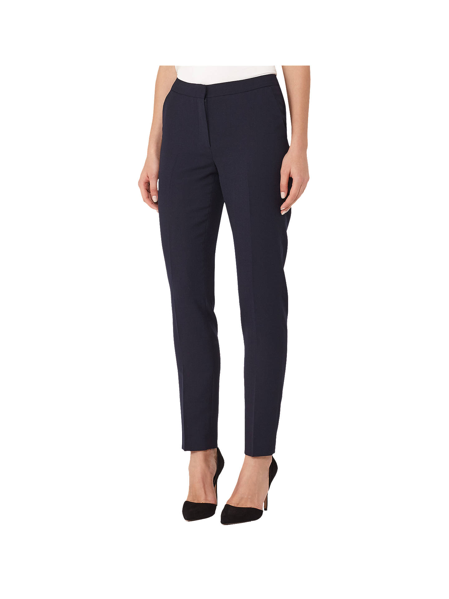 BuyReiss Faulkner Slim-Leg Trousers, Navy, 6 Online at johnlewis.com