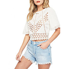 Buy Miss Selfridge Cutwork Angel Sleeve Top, Cream Online at johnlewis.com