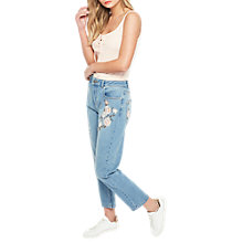 Buy Miss Selfridge Petite Mom Embroidered Jeans, Mid Wash Denim Online at johnlewis.com