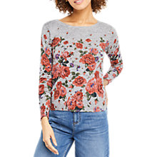 Buy Oasis Bloom Print Jumper, Mid Grey Online at johnlewis.com