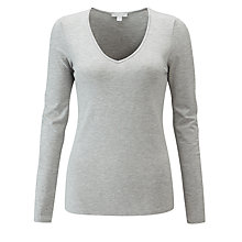 Buy Pure Collection Soft Jersey V-Neck Top, Light Grey Marl Online at johnlewis.com