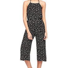 Buy Miss Selfridge Petite Culotte Printed Jumpsuit, Black/White Online at johnlewis.com