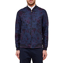 Buy Ted Baker Realli Linen Blend Bomber Jacket, Navy Online at johnlewis.com
