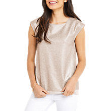 Buy Oasis Metallic Wrap Back T-Shirt, Rose Gold Online at johnlewis.com