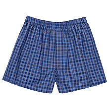 Buy Sunspel Woven Cotton Check Boxers, Navy Online at johnlewis.com