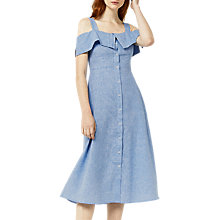 Buy Warehouse Button-Through Linen-Blend Dress, Light Blue Online at johnlewis.com