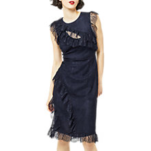 Buy Warehouse Eyelash Frill Dress, Navy Online at johnlewis.com