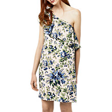 Buy Warehouse Lily Print One-Shoulder Dress, Neutral/Multi Online at johnlewis.com