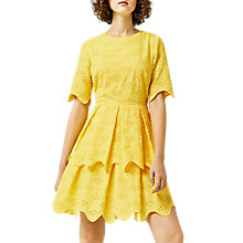 Buy Warehouse Broiderie Dress, Yellow Online at johnlewis.com