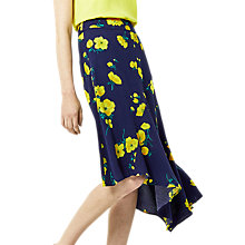 Buy Warehouse Delia Flower Asymmetric Skirt, Blue/Multi Online at johnlewis.com