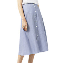 Buy Warehouse Stripe Button-Through Skirt, Blue/White Online at johnlewis.com
