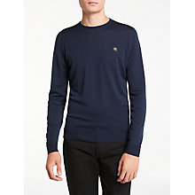 Buy John Smedley Long Sleeve Crew Neck Jumper, Midnight Online at johnlewis.com