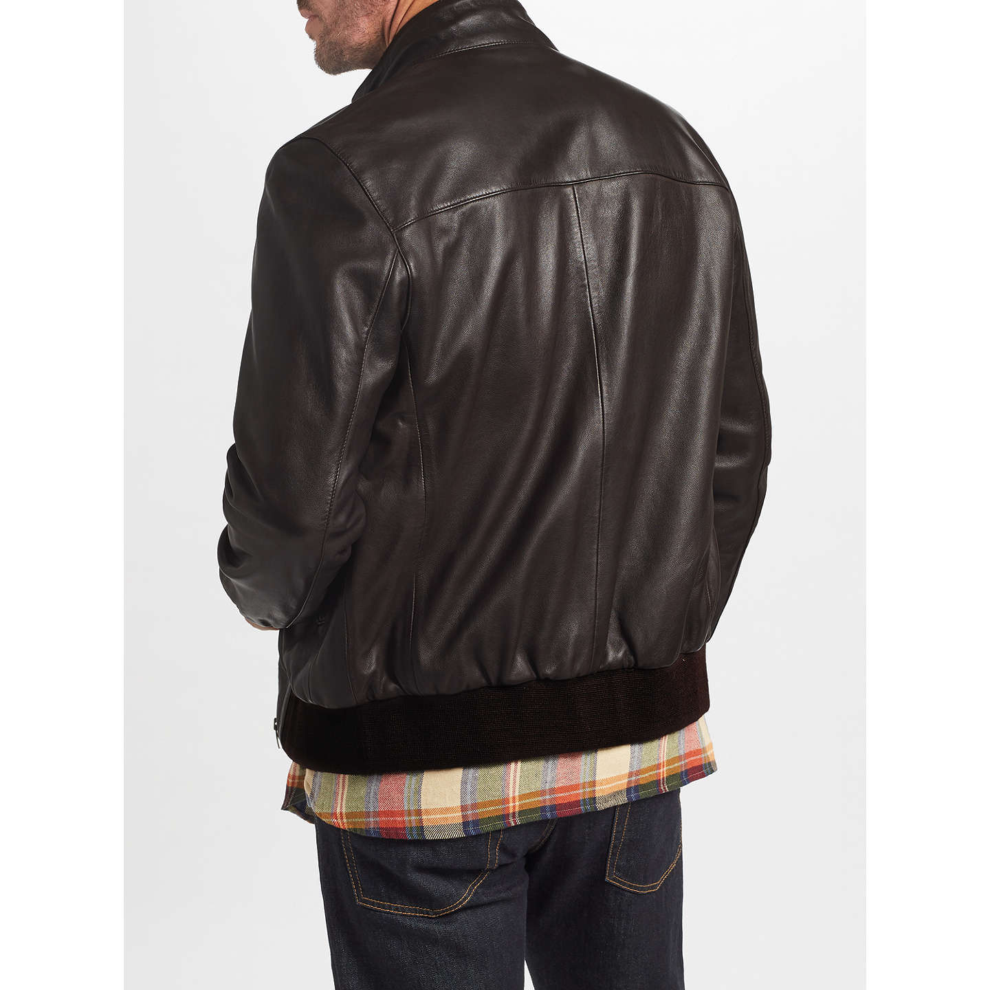 BuyJohn Lewis Leather Harrington Jacket, Brown, S Online at johnlewis.com