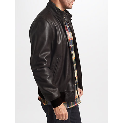 Buy John Lewis Leather Harrington Jacket, Brown Online at johnlewis.com