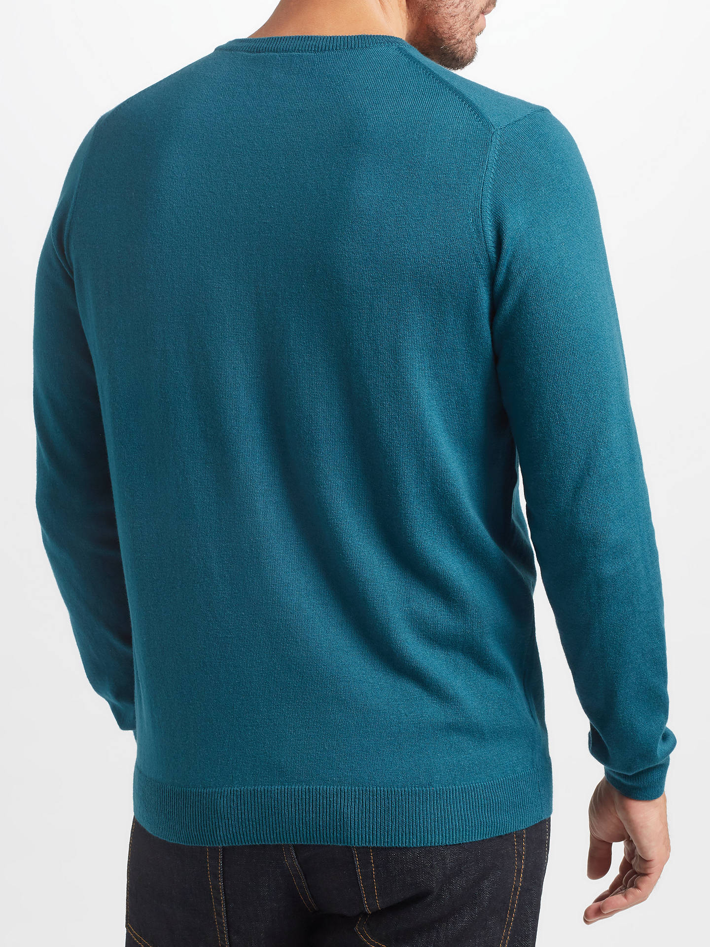 BuyJohn Lewis & Partners Cotton Cashmere Crew Neck Jumper, Teal, S Online at johnlewis.com