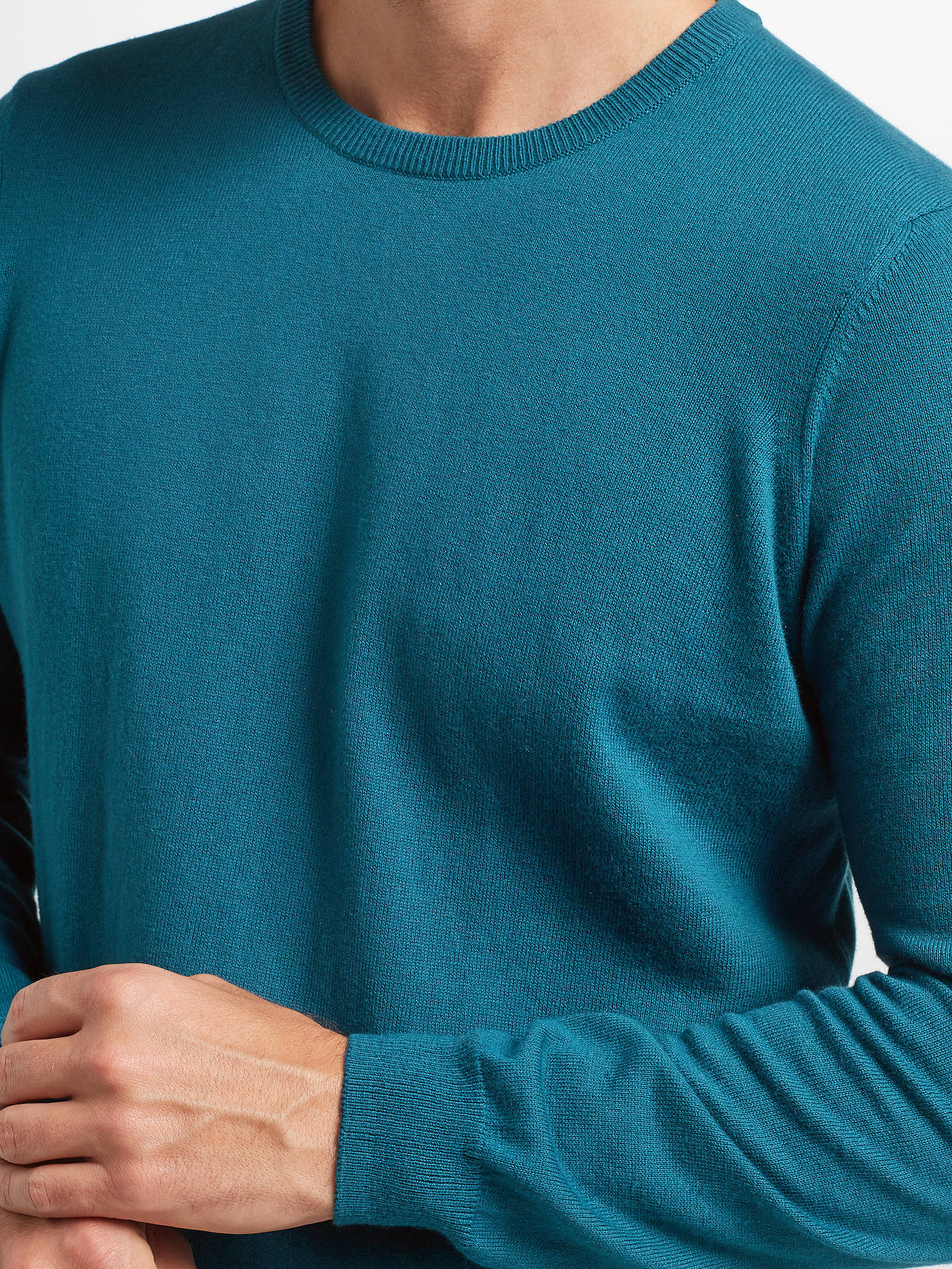 Buy John Lewis & Partners Cotton Cashmere Crew Neck Jumper, Teal, L Online at johnlewis.com