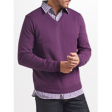 Buy John Lewis Cotton Cashmere V-Neck Jumper, Purple Marl Online at johnlewis.com